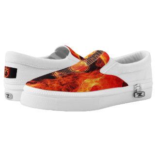 Zipz Slip on Burning Guitar Flames Music