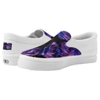 Zipz Slip On Romantic Purple Glitter Rose flowers Printed Shoes