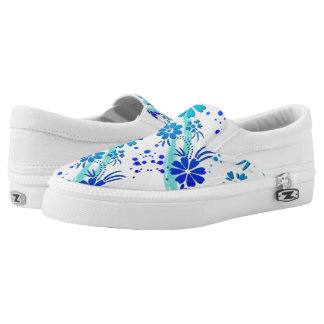ZipZ Slip On Shoes-Blue Flowers Printed Shoes