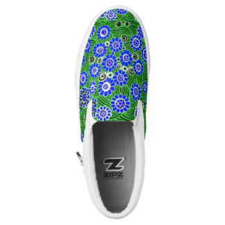 "Zipz Slip On Shoes (""Wild Flowers"" - Blue) Printed Shoes"