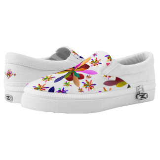 Zipz Slip On Shoes with Stylized Flower 1 Printed Shoes