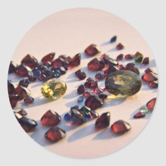 Zircon and assorted stones round sticker