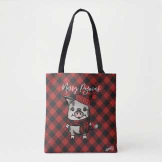 Ziva Pig Red Buffalo Plaid Tote Bag