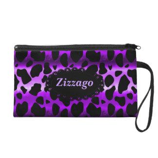 Zizzago Wristlet Bag Purple Black Leopard