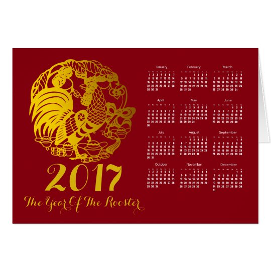Zodiac 2017 Rooster Year Calendar Greeting Card