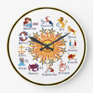 Zodiac 6 Colors Large Clock