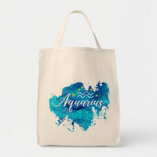 Zodiac Aquarius Blue Watercolor Gold Stars Tote Bag