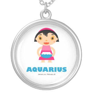 Zodiac Aquarius for Girls Round Pendant Necklace