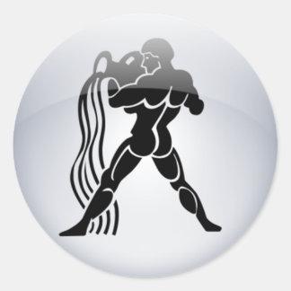 Zodiac Aquarius Round Sticker
