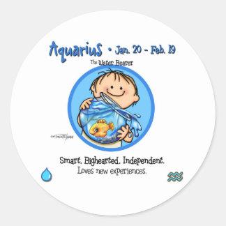 Zodiac - Aquarius Sign Round Sticker