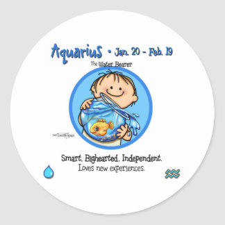 Zodiac - Aquarius Sign Round Sticker