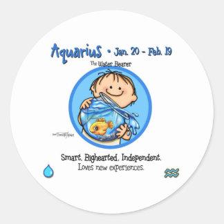Zodiac - Aquarius Sign Round Stickers