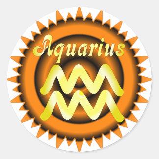 Zodiac Aquarius Round Stickers