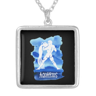 Zodiac Aquarius Stylized Sign Blue Watercolor Silver Plated Necklace