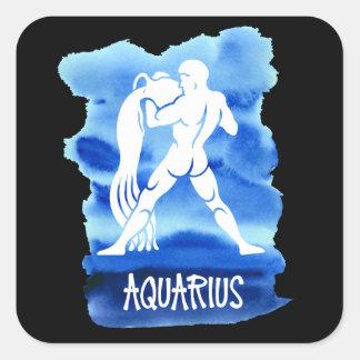 Zodiac Aquarius Stylized Sign Blue Watercolor Square Sticker