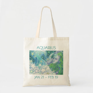 Zodiac Aquarius tote bag text
