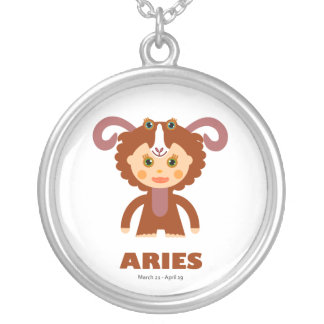 Zodiac Aries for Girls Round Pendant Necklace