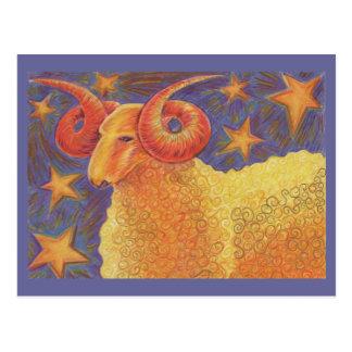 Zodiac Aries postcard