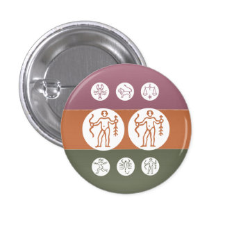Zodiac Astrology Symbol : BirthStar Goodluck Charm 3 Cm Round Badge
