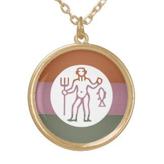 Zodiac Astrology Symbol : BirthStar Goodluck Charm Round Pendant Necklace