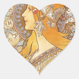 Zodiac by Alphonse Mucha Heart Sticker