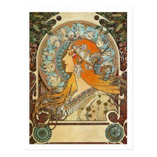 Zodiac by Alphonse Mucha Postcard