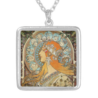 Zodiac by Alphonse Mucha Silver Plated Necklace