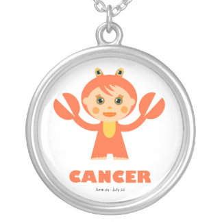 Zodiac Cancer for Girls Round Pendant Necklace