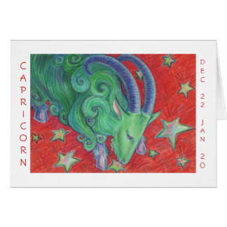 Zodiac Capricorn  'Happy Birthday' card white
