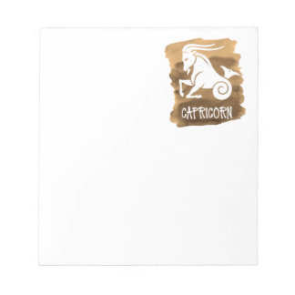 Zodiac Capricorn Stylized Sign Brown Watercolor Notepad