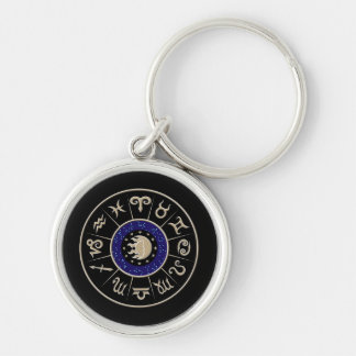 Zodiac Circle Silver-Colored Round Key Ring