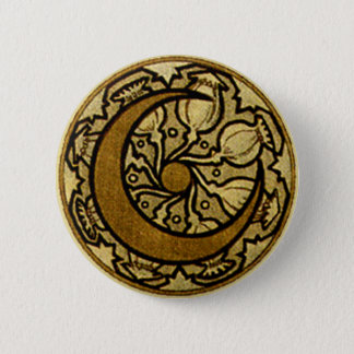 Zodiac Crescent Moon 6 Cm Round Badge