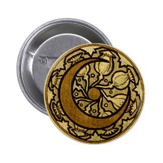 Zodiac Crescent Moon 6 Cm Round Badge