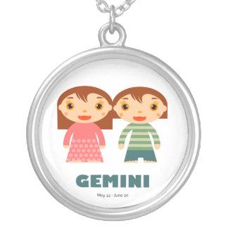Zodiac Gemini for Girls Round Pendant Necklace