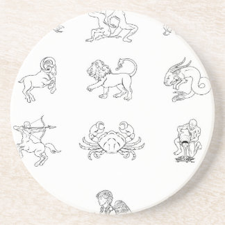Zodiac horoscope astrology signs beverage coaster