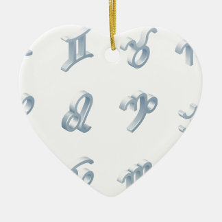 Zodiac Horoscope Icon Set Ceramic Heart Decoration