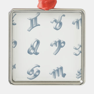 Zodiac Horoscope Icon Set Silver-Colored Square Decoration