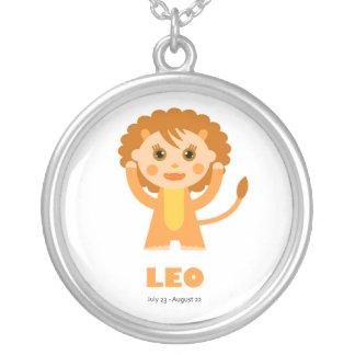 Zodiac Leo for Girls Round Pendant Necklace