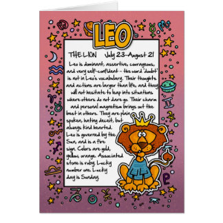 Zodiac - Leo Fun Facts Card