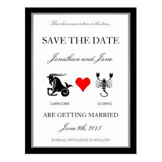 Zodiac Love Save the Date (Capricorn/Scorpio) Postcard
