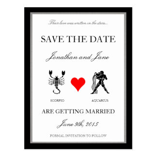Zodiac Love Save the Date (Scorpio/Aquarius) Postcard