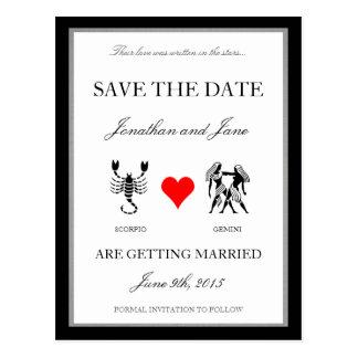 Zodiac Love Save the Date (Scorpio/Gemini) Post Card