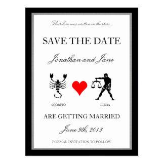 Zodiac Love Save the Date Scorpio Libra Post Cards