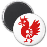 ZODIAC PAPERCUT ROOSTER ILLUSTRATION 6 CM ROUND MAGNET