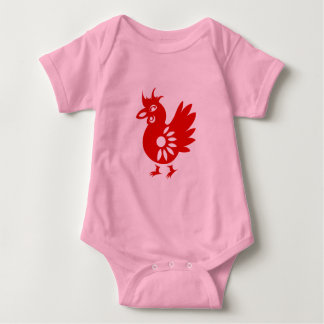 ZODIAC PAPERCUT ROOSTER ILLUSTRATION BABY BODYSUIT