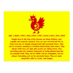 ZODIAC PAPERCUT ROOSTER ILLUSTRATION POSTCARD