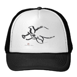 Zodiac Pig, Year of the Pig Sumi-e Mesh Hats