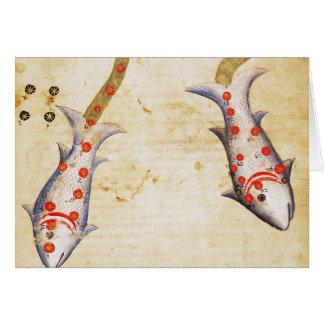 Zodiac: Pisces, C1350 Note Card