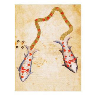 Zodiac: Pisces, C1350 Postcard