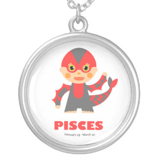 Zodiac Pisces for Girls Round Pendant Necklace